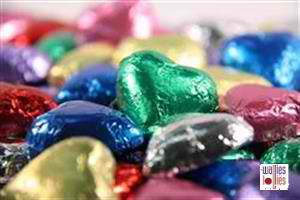 Promotional Mixed Colors Foiled Hearts in 1kg Bag