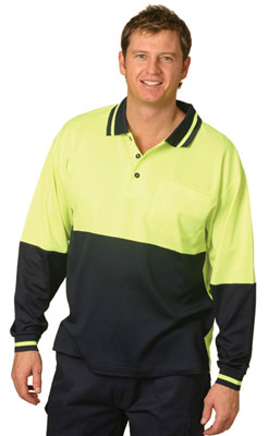 Branded gift Hi Vis Truedry Mesh Knit Long Sleeve Safety Polo
