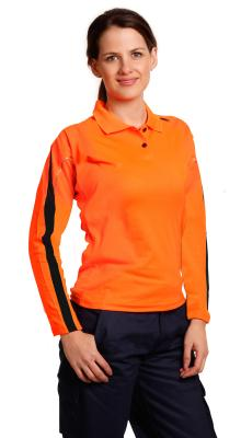 Branded Ladies' Truedry Hi-vis Legend Long Sleeve Polo With Reflective Piping