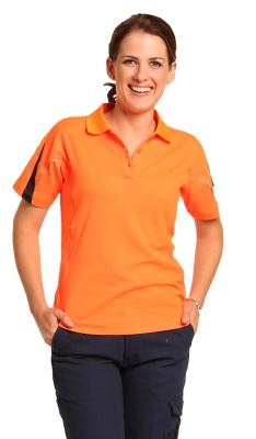 Branded Ladies' Truedry Hi-vis Legend Short Sleeve Polo With Reflective Piping