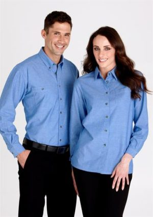 Promotional Mens Wrinkle Free Chambray Long Sleeve Shirt